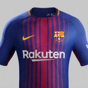 「Rakuten」と記されたFCバルセロナのユニフォームお披露目!