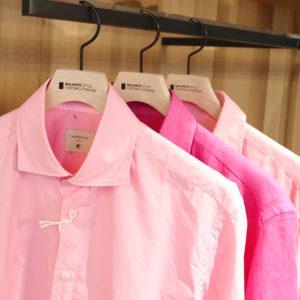 """同じカラーでも異なる素材感!""""BASTONCINO""""のピンクカラーシャツ♡"""