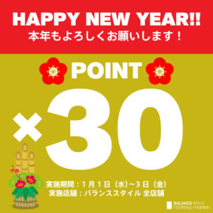 HAPPY NEW YEAR!!ポイント30倍キャンペーン継続決定!