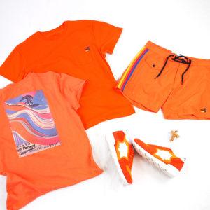 華やかなオレンジカラーアイテムで春色コーデ♪